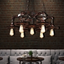 7-Light Open Bulb Ceiling Pendant Light Vintage Steel Chandelier Lighting Fixture for Indoor