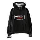 Fake Two-Piece Letter Michael Scott Print Long Sleeve Casual Relaxed Hoodie