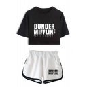 Dunder Mifflin Popular Letter Print Short Sleeve Crop Tee with Dolphin Shorts Two-Piece Co-ords