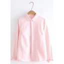 Plaid Printed Lapel Collar Long Sleeve Button Front Shirt For Girls