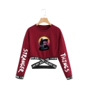 New Fashion Cartoon Figure Printed Round Neck Long Sleeve Crop Pullover Sweatshirt