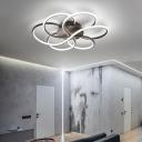 Floral Ceiling Flush Light Modernism Metal and Acrylic Integrated Led Flush Mount Light