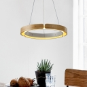 Round Led Pendant Light Nordic Simple Wood Suspension Light with Warm Lighting