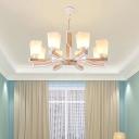 Modern Tapered Pendant Lighting Frosted Glass Indoor Chandelier Light for Living Room