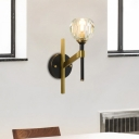 Brass Wall Sconce Light Modern Metal 1 Head Wall Lamp Sconce with Crystal Shade for Foyer