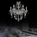 Chrome Candle Hanging Chandelier Traditional Crystal 6/8 Light Pendant Hanging Lights for Living Room