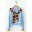 Two Pieces Round Neck Striped Printed Tie Front Hood Long Sleeve Casual Hoodie