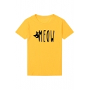 Cartoon Cat MEOW Letter Printed  Round Neck Short Sleeve Casual Loose Tee