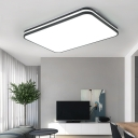 Metal Geometric Ceiling Lamp with Frosted Diffuser Led Modern Flush Ceiling Light in Black