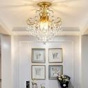 3 Light Crystal Ball Semi Flush Ceiling Light for Balcony, Modern Gold/Black Metal Semi-Flush
