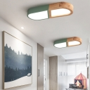 Macaron Acrylic Flush Ceiling Lights Unique Capsule Wooden Flush Mount Lighting in White/Grey/Green for Bedroom