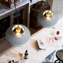 Gray Cement Shade Pendant Lamp Industrial Modern 1 Light Dining Room Suspension Lamp in Brass