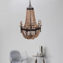 Multi Light Beaded Chandelier Country Style Wooden Hanging Pendant Light in Rust