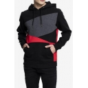 Men's New Stylish Colorblock Patch Long Sleeve Casual Sports Drawstring Hoodie