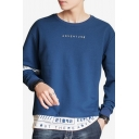 Mens New Fashion Letter ADVENTURE Printed Long Sleeve Round Neck Casual Pullover Sweatshirt