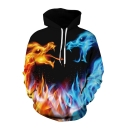 Cool Ice and Fire Dragon 3D Printing Long Sleeve Casual Loose Pullover Hoodie