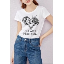 Unisex HER WOLF HIS DR AGON Letter Animal Printed  Round Neck Short Sleeve Loose Tee