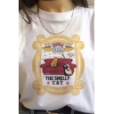 CENTRAL PERK THE SMELL CAT Letter Cat Printed Round Neck Short Sleeve White T-Shirt