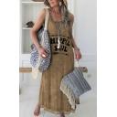 Casual Womens Arrow Letter Hippie Soul Pattern Crew Neck Asymmetrical Hem Sleeveless Regular Fit Midi Tank Dress