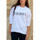 Cool Street Style Letter THE 1975 Printed White Sweatshirt