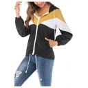 Stylish Zip Closure Color Block Long Sleeve Drawstring Hoodies Windbreaker Jacket
