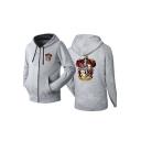 Popular Gryffindor Lion Printed Long Sleeve Zip Up Fitted Grey Hoodie