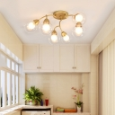 Modern Gold Finish Semi Flush Ceiling Light with Orb Shade 6/12 Light Glass Flush Mount Light for Bedroom
