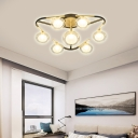 Triangle Living Room Semi Flush Ceiling Fixture Metal 7 Light Modern Ceiling Light in Black and Gold