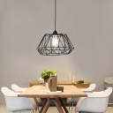Matte Black Geometric Ceiling Light Fixture Modern Iron Single Bulb Caged Ceiling Pendant