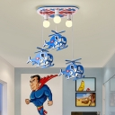 6 Lights Helicopter Flush Lighting Cartoon Wood Led Flush Mount Ceiling Light for Boys