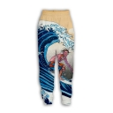 Trendy Ukiyo-e Style 3D Wave Printed Sport Casual Unisex Joggers Sweatpants