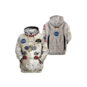 New Fashion Guys 3D Astronaut NASA Logo Printed Long Sleeve Unisex Pullover Hoodie
