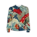 Fashion Ukiyo-e Style 3D Wave Pattern Round Neck Long Sleeve Pullover Sweatshirt