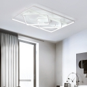 Two-Rhombus Metallic Ceiling Flush Simple Style LED Ceiling Mounted Light in White