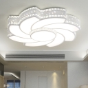 Crystal Accent Blossom Flushmount Light Metal LED Ceiling Lamp in White for Sitting Room