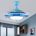 Coastal Ceiling Fan 1 Light LED Ceiling Light Fixtures with Retractable Invisible Blade for Bedroom
