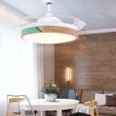 Round Ceiling Fixture Modern Acrylic and Metal 1-Light Invisible Blade Fan Light for Living Room Baby Room