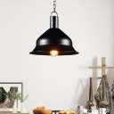 Bell Shape Chain Hung Pendant Antiqued Steel 1 Bulb Pendant Light Fixture for Restaurant