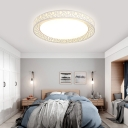 Contemporary Hollow Drum Flush Mount Fixture Light Acrylic 1 Light in White Ceiling Light for Bedroom