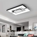 Contemporary Black and White Ceiling Light with Combination Fixture Square/Rectangle Metal Flush Mount