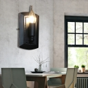 1 Bulb Candle Wall Mounted Light Antique Black and Iron Wall Sconce Light Fixture for Foyer