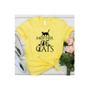Popular Letter Mother Of Cats Printed Basic Round Neck Short Sleeve Graphic Tee