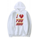 Cool Iron Letter I Love You 3000 Graphic Print Loose Casual Hoodie