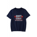Fashion Letter Scott Schrute Print Round Neck Short Sleeve Loose Fit T-Shirt