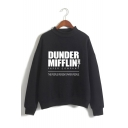 Hot Popular Letter Dunder Mifflin Printed Mock Neck Long Sleeve Casual Sweatshirt