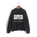 Hot Popular Letter Dunder Mifflin Printed Mock Neck Long Sleeve Casual Sweatshirt