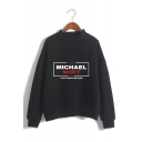 Fashion Letter Michael Scott Printed Mock Neck Long Sleeve Pullover Sweatshirt