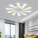 8/10-Petal Blossom Semi Flush Ceiling Lights Nordic Style Acrylic Mount Fixture in White