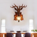 Resin Animal Wall Lighting with Deer Design Rustic 1 Light Indoor Wall Mount Light in Black