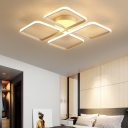 Aluminum Square Semi Flush Light Simple Modern Led White Semi Flushmount Light for Bedroom